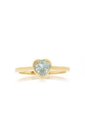 Katey Walker Tiny Heart 18K Gold and Topaz Ring Size: 6