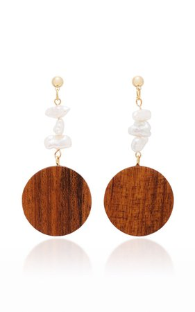 Mira Gold-Plated, Wood And Pearl Earrings by Sophie Monet | Moda Operandi