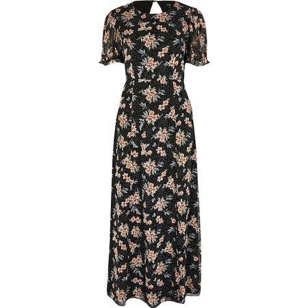 Black floral open back maxi dress | River Island