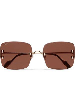 Cartier Eyewear | Square-frame gold-plated sunglasses | NET-A-PORTER.COM