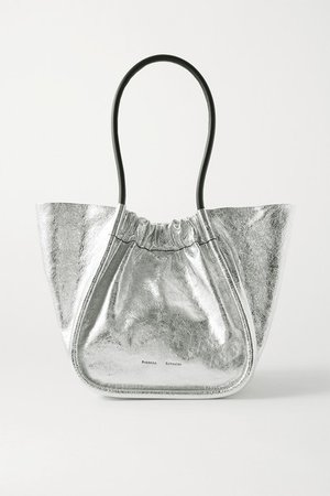Large Ruched Metallic Crinkled-leather Tote - Silver