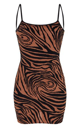 Brown Zebra Print Flocked Strappy Bodycon Dress | PrettyLittleThing