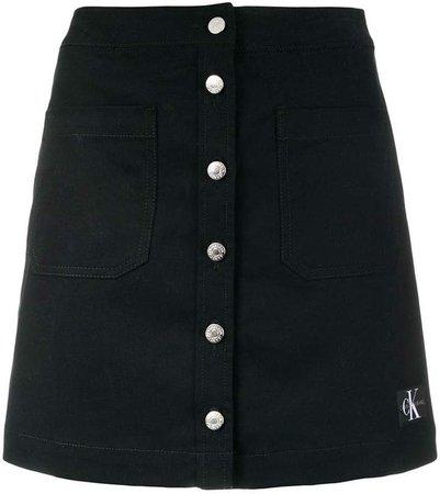 button-down mini denim skirt