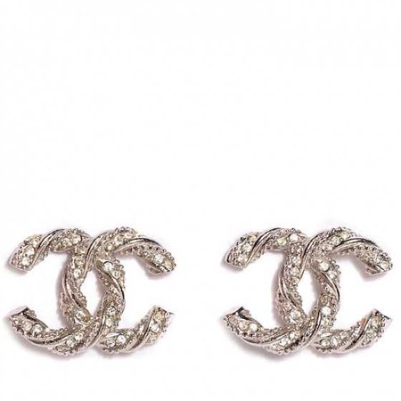 CHANEL Crystal CC Twisted Earrings Silver