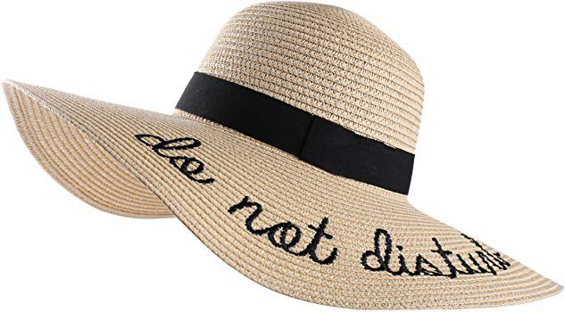 Women's Do Not Disturb Straw Wide Brim Floppy Sun Hat Beach Sun Hat (Beige) at Amazon Women's Clothing store: