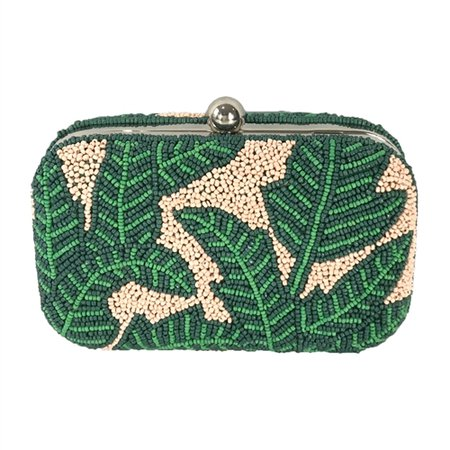 From St Xavier Nina Tropical Palm Beaded Box Clutch, Green Multi