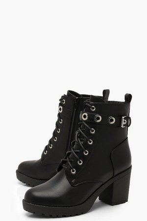 Chunky Lace Up Hiker Boots With Eyelets | boohoo