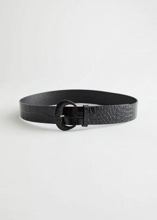 Croc Embossed Leather Belt - Black - Belts - & Other Stories