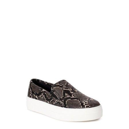 Time and Tru - Time and Tru Platform Twin Gore Slip-On Sneakers (Women's) - Walmart.com - Walmart.com grey