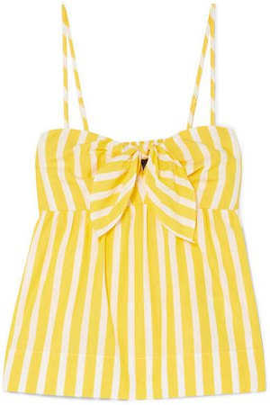 Mireille Knotted Striped Cotton-poplin Camisole - Yellow