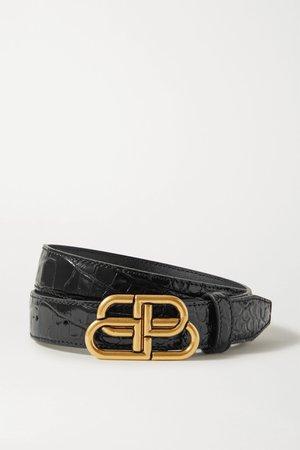 Black BB croc-effect leather belt | Balenciaga | NET-A-PORTER