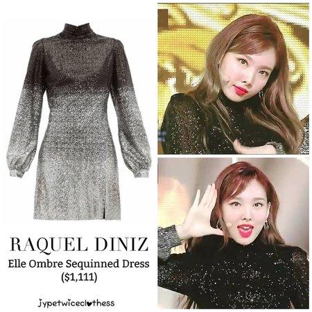 """Twice's Fashion on Instagram: """"NAYEON SBS INKIGAYO RAQUEL DINIZ- Elle Ombre Sequinned Dress ($1,111) #twicefashion #twicestyle #twice #nayeon #jeongyeon #jihyo #momo…"""""""