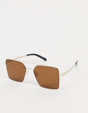 Pieces square sunglasses with gold frame | ASOS