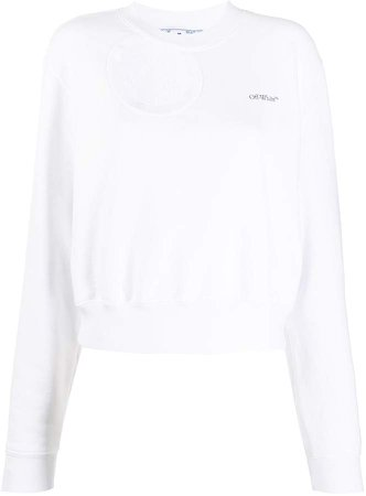 Off White cropped cutout sweatshirt