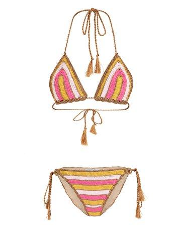 My Beachy Striped Knit Crochet Bikini Set | INTERMIX®