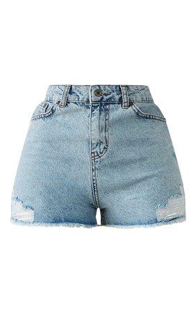 Plt Shape Acid Blue Wash Pocket Denim Shorts   PrettyLittleThing USA