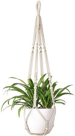 Mkono Macrame Plant Hanger Indoor Hanging Planter Basket with Wood Beads Decorative Flower Pot Holder No Tassels for Indoor Outdoor Boho Home Decor 35 Inch, Ivory: Kitchen & Dining