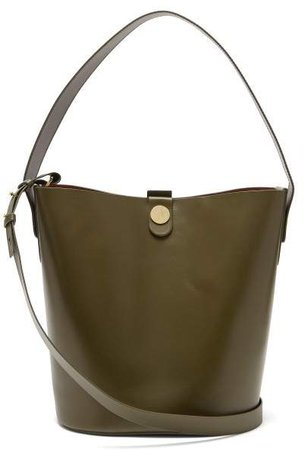 Swing Leather Bucket Bag - Womens - Khaki