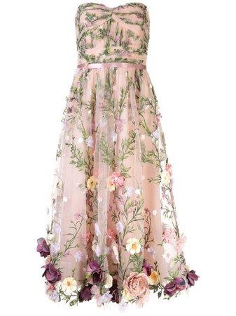 Marchesa Notte Floral Appliqué Midi Gown - Farfetch