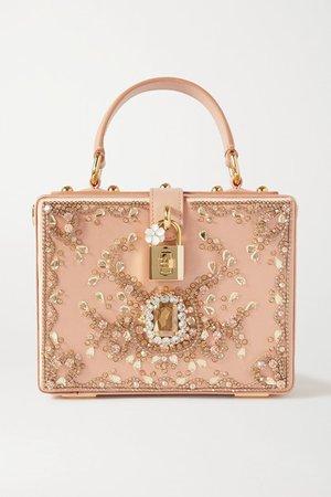 Crystal-embellished Leather-trimmed Satin Tote - Pink