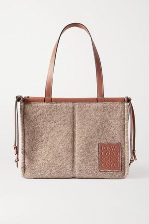 Cushion Small Leather-trimmed Felt Tote - Brown
