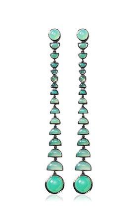 Nakard Metronome Sterling Silver Chrysoprase Earrings By Nak Armstrong | Moda Operandi