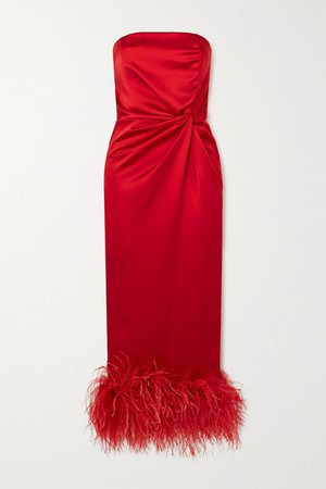 Himawari Strapless Feather-trimmed Knotted Satin Midi Dress - Red
