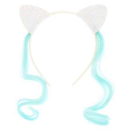 Claire's Club Faux Hair Cat Ears - White