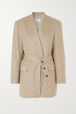 Frankie Shop   Belted wool-blend wrap blazer   NET-A-PORTER.COM