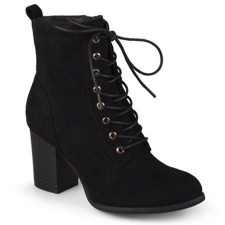 black Brinley Co. - Brinley Co. Women's Lace-Up Faux Suede Booties with Stacked Heel - Walmart.com - Walmart.com