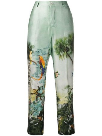 F.R.S For Restless Sleepers Cropped Tropical Print Trousers - Farfetch