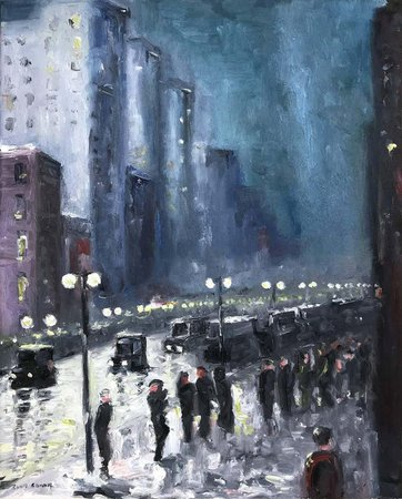 """Cindy Shaoul - """"The City At Night"""" Impressionist Nocturnal Street Scene Oil Painting on Canvas For Sale at 1stDibs"""