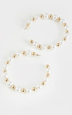 White Pearl Gold Beaded Hoop Earrings | PrettyLittleThing USA