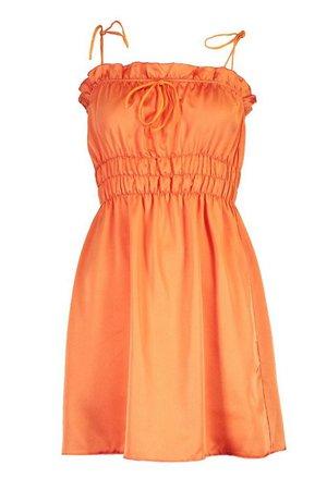 Satin Strappy Shirred Skater Dress | boohoo orange