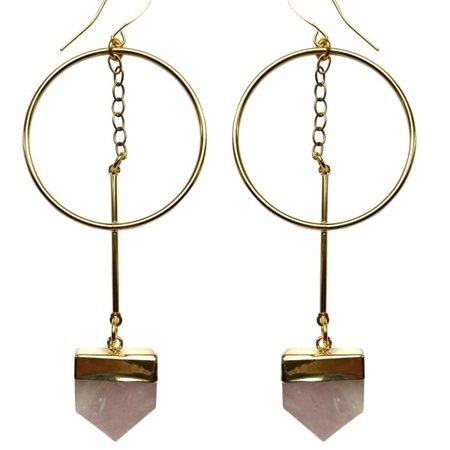 Life Force Rose Quartz Hoop Earrings   Tiana Jewel   Wolf & Badger