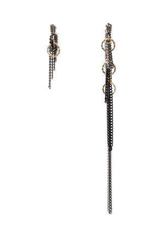 Finerblack Jewelry Asymmetric Statement Earrings Front Back