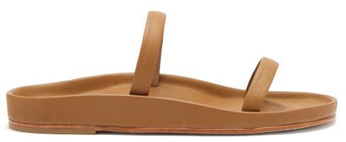 Line Leather Sandals - Tan