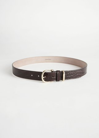 Croco Leather Belt - Black Croc - Belts - & Other Stories