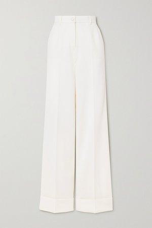 White Wool-blend wide-leg pants | Dolce & Gabbana | NET-A-PORTER