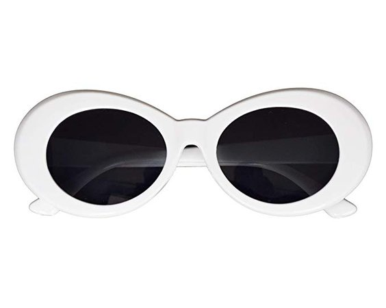 Amazon.com: JUSLINK Bold Retro Oval Mod Thick Frame Sunglasses Round Lens Clout Goggles White: Clothing
