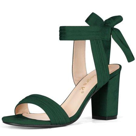 Women's Ankle Tie Open Toe Block Heel Sandals