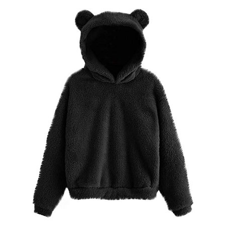 WWomens Girls Bunny Hoodie Sweatshirt Pullover Tops Blouse Lovely Rabbit Ear Hooded Pullover Tops (XL, Black) at Amazon Women's Clothing store