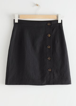 Front Button Mini Skirt - Black - Mini skirts - & Other Stories