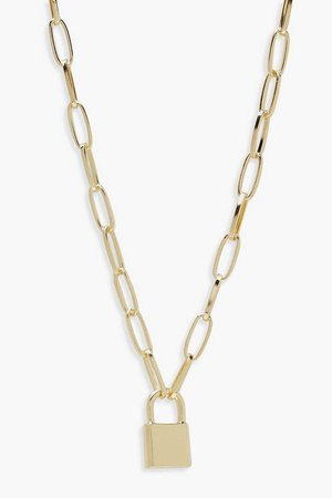 Padlock Chain Statement Necklace | Boohoo