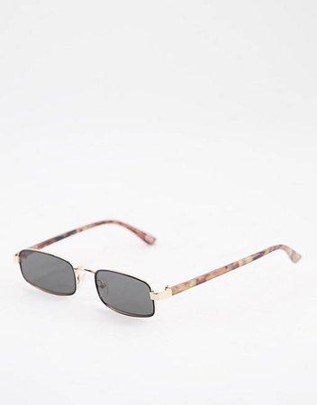 ASOS DESIGN narrow metal square sunglasses in black | ASOS