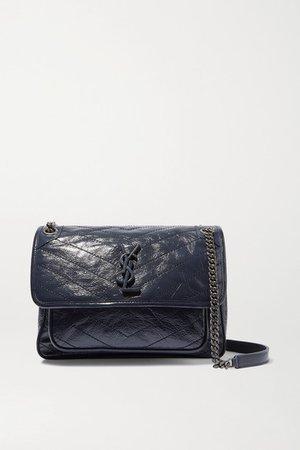 Niki Medium Quilted Crinkled Glossed-leather Shoulder Bag - Navy