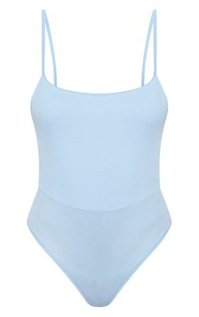 Basic Baby Blue Square Neck Thong Bodysuit | PrettyLittleThing