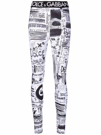 Shop Dolce & Gabbana graffiti-print leggings with Express Delivery - FARFETCH
