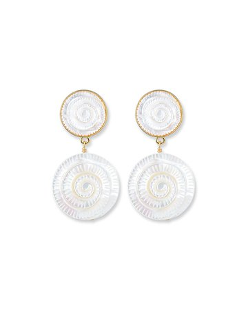 NEST Jewelry Hand-Carved Mother-of-Pearl Shell Drop Earrings | Neiman Marcus