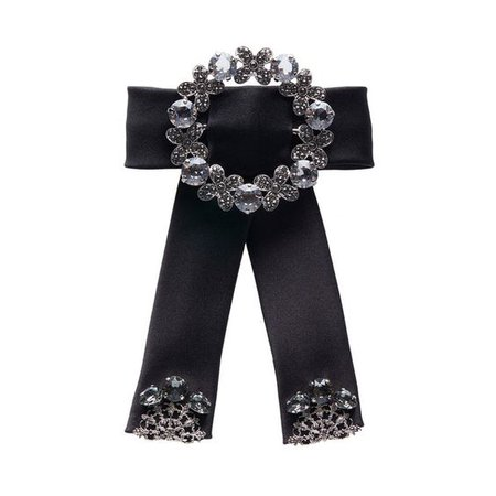 Dolce & Gabbana Crystal Studded Black Bow Hair Clip